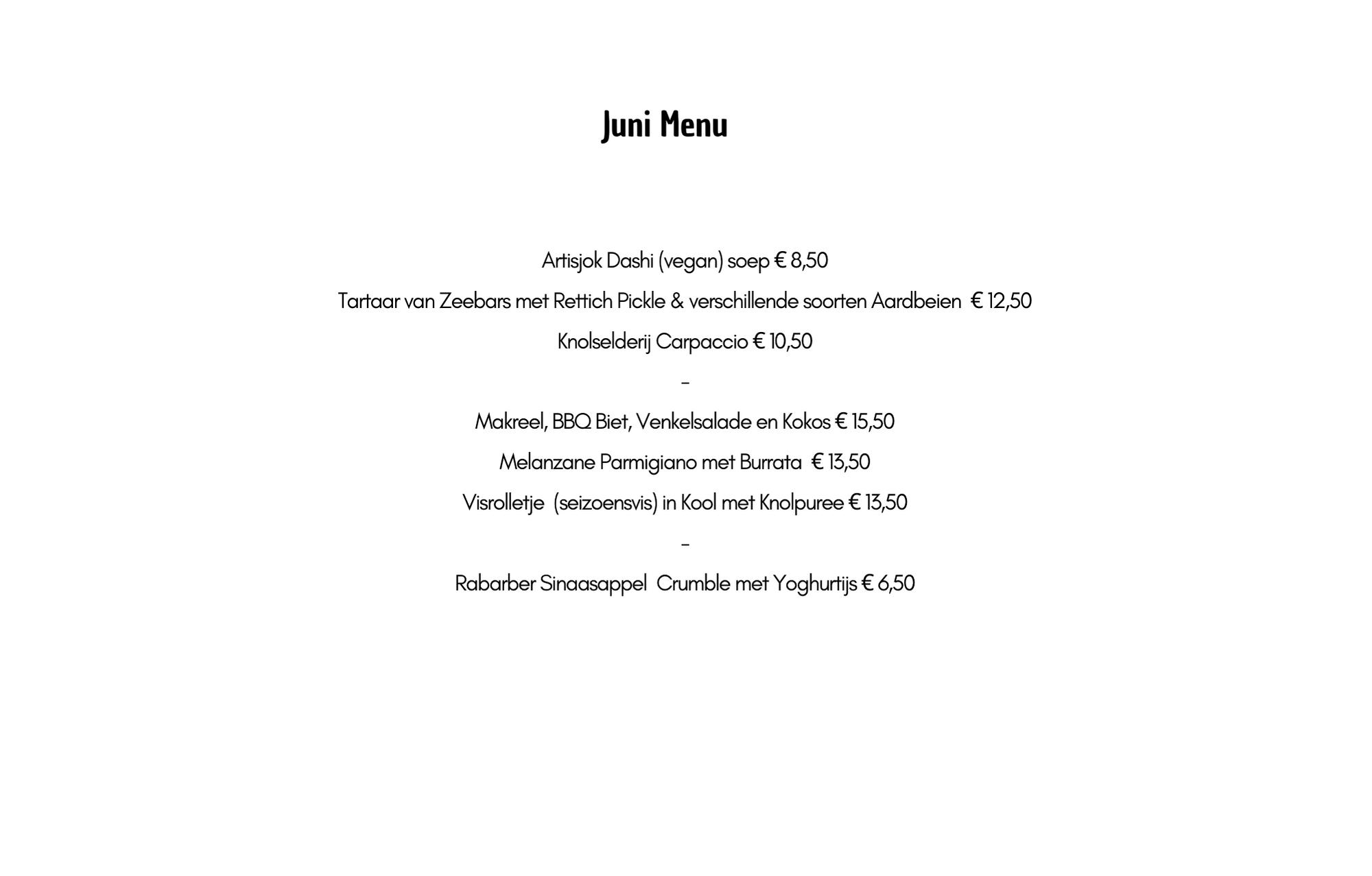 Juni Menu (vrijdag t/m dinsdag)