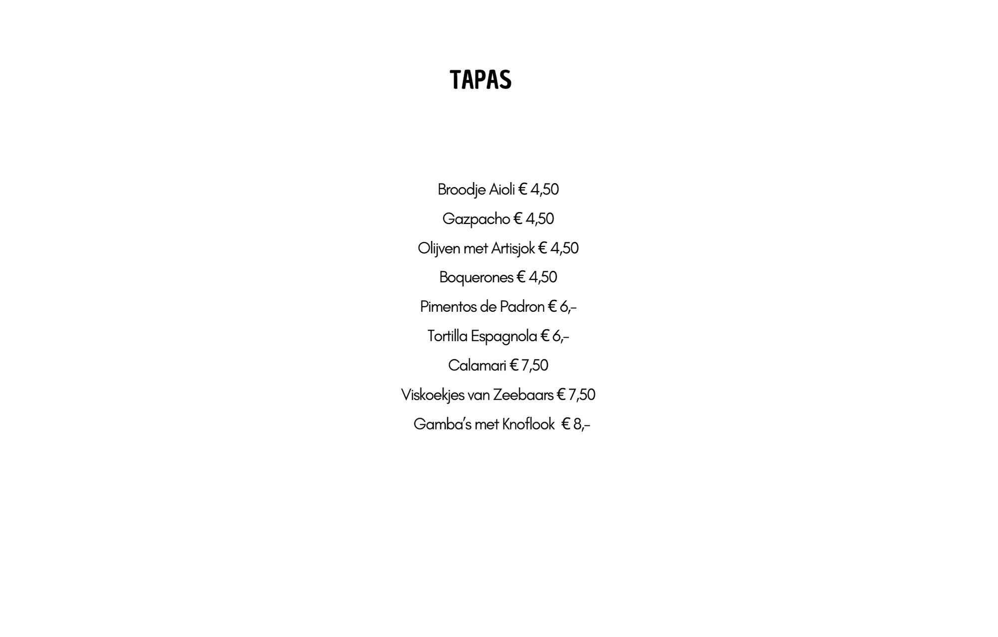 Tapas (woensdag en donderdag)